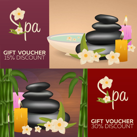 Spa salon gift certificate. Wood texture. Vector illustration