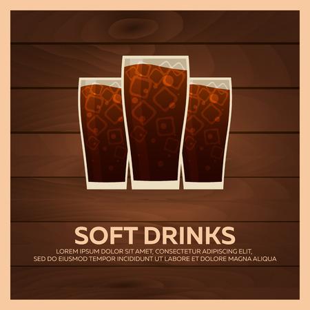 bunner: Soft drinks bunner. Fast food Restauran menu. Vector illustration