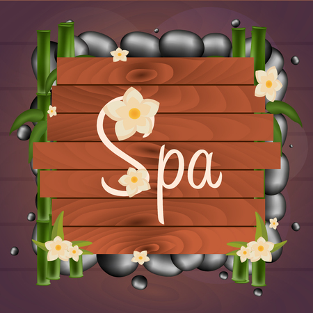 spa salon: Spa salon banner with stones. Thai Massage. Wooden frame. Vector illustration