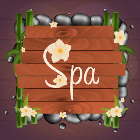 massage stones: Spa salon banner with stones. Thai Massage. Wooden frame. Vector illustration