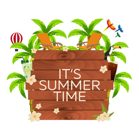 time frame: Travel illustration. Its summer time. Wooden frame