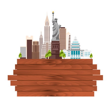 new york skyline: Travel to USA, New York Poster skyline. Statue of Liberty. Wooden frame. Vector illustration