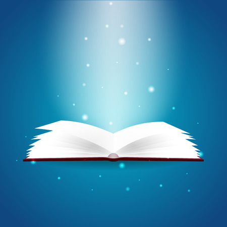 Book poster. Open book with mystic bright light on blue background. Vector illustration Illustration