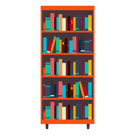 bookcase: Library. Bookcase. Books and Knowledge Vector illustration Illustration