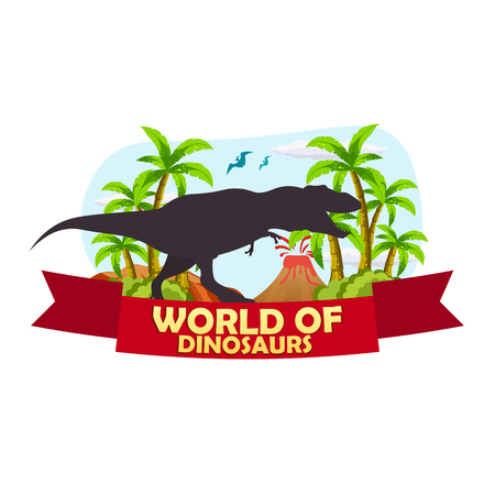 jurassic: Poster World of dinosaurs. Prehistoric world. T-rex. Jurassic period