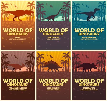 Posters collection World of dinosaurs. Prehistoric world. T-rex, Diplodocus, Velociraptor, Parasaurolophus, Stegosaurus, Triceratops Cretaceous period Jurassic period Illustration