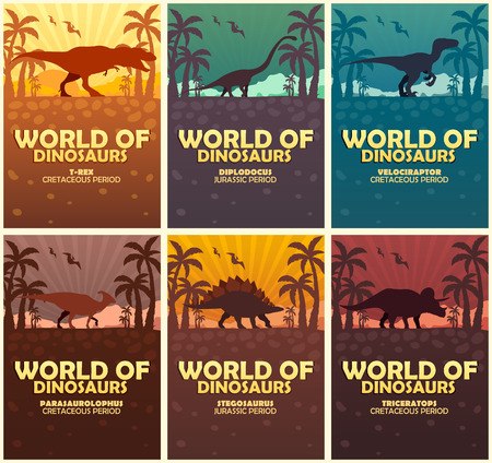 Posters collection World of dinosaurs. Prehistoric world. T-rex, Diplodocus, Velociraptor, Parasaurolophus, Stegosaurus, Triceratops Cretaceous period Jurassic period Illustration
