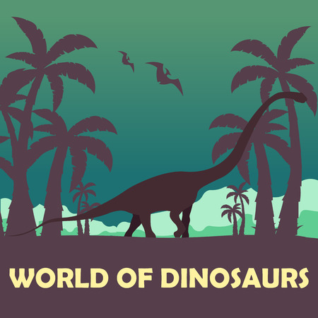 jurassic: Banner World of dinosaurs. Prehistoric world. Diplodocus. Jurassic period Illustration