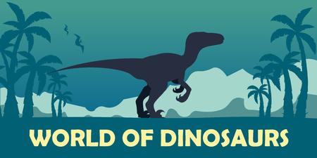 World of dinosaurs. Prehistoric world. Velociraptor. Cretaceous period