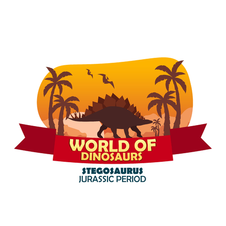 jurassic: World of dinosaurs. Prehistoric world. Stegosaurus. Jurassic period