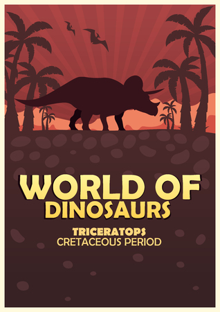 triceratops: Poster World of dinosaurs. Prehistoric world. Triceratops. Cretaceous period