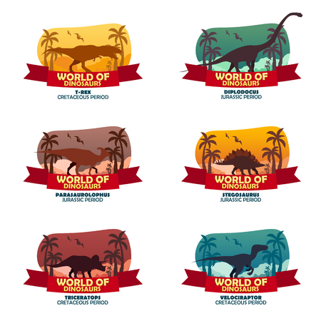 Big collection World of dinosaurs. Prehistoric world. T-rex, Diplodocus, Velociraptor, Parasaurolophus, Stegosaurus, Triceratops Cretaceous period Jurassic period