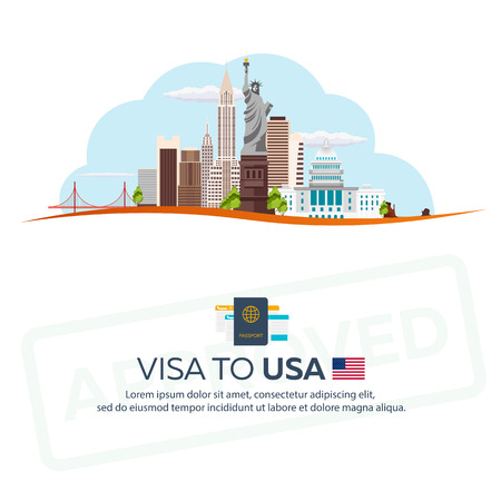 immigrate: Visa to USA. Travel to USA. Document for travel. flat illustration