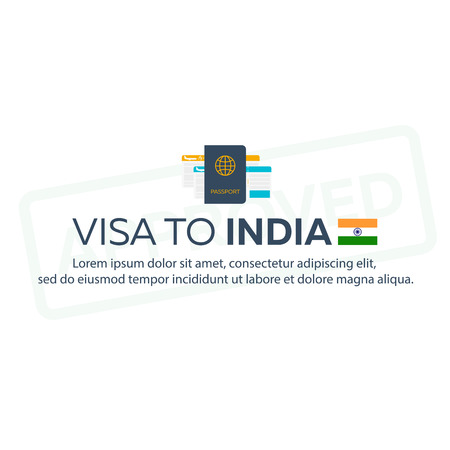 immigrate: Visa to India. Travel to India. Document for travel. flat illustration Illustration