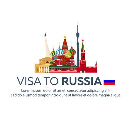 Visa a Rusia. Viaje a Rusia Documento para viajar. Ilustración plana
