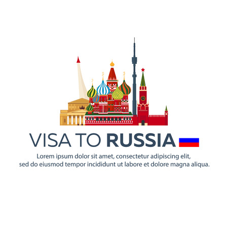 Visa to Russia. Travel to Russia. Document for travel. flat illustration Stock Illustratie