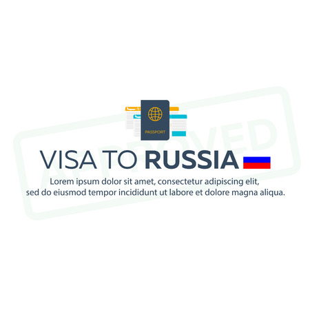 immigrate: Visa to Russia. Travel to Russia. Document for travel. flat illustration Illustration