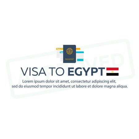 immigrate: Visa to Egypt. Travel to Egypt. Document for travel. flat illustration
