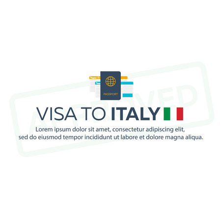 immigrate: Visa to Italy. Travel to Italy. Document for travel. flat illustration Illustration