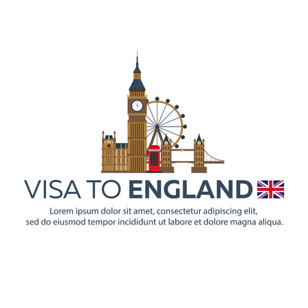 Visa to England. Travel to England. Document for travel. flat illustration