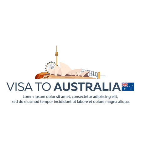immigrate: Visa to Australia. Travel to Australia. Document for travel. flat illustration