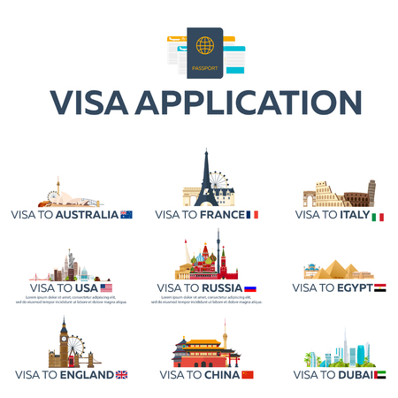 immigrate: Big set Visa to the country. Australia, France, Italy, USA, Russia, Egypt, England, China, Dubai. Document for travel. flat illustration
