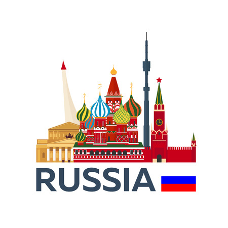 Travel to Russia, Moscow skyline. Kremlin. illustration