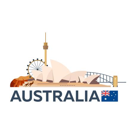 Travel to Australia, Sydney skyline. illustration