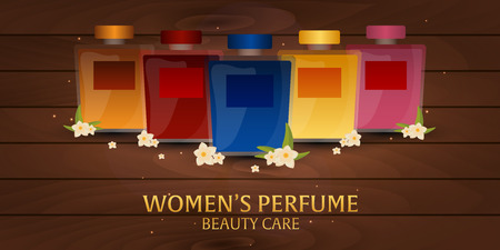 beauty care: Banner Womens Perfume. Wooden background. Beauty care. Classic bottle of perfume. Liquid luxury fragrance aromatherapy. illustration