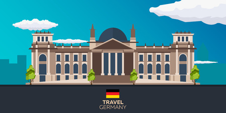 Travel to Germany. Reichstag.flat illustration