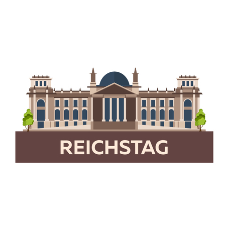Travel to Germany. Reichstag. flat illustration