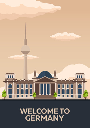 Travel to Germany, Berlin Poster skyline. Reichstag. illustration