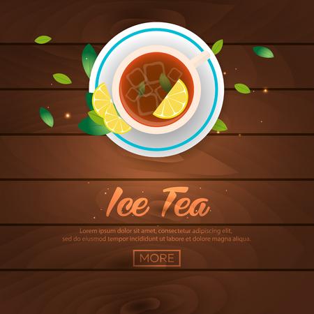ice tea: Tea time. Cup of tea. Ice tea. Wooden background. illustration
