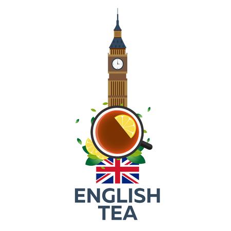 english tea: Tea time. Cup of tea with lemon. English tea. illustration Illustration