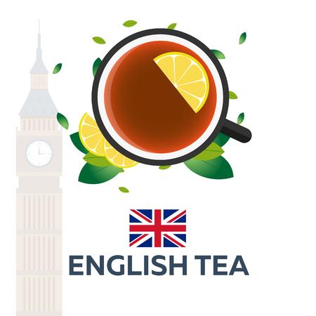 english tea: Tea time. Cup of tea with lemon. English tea.