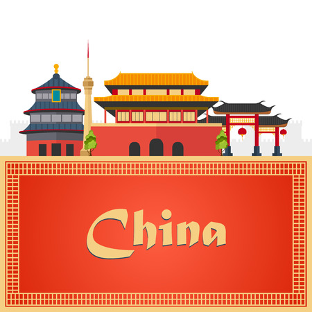 Trip to China. Travelling illustration. Modern flat design Vector Illustration