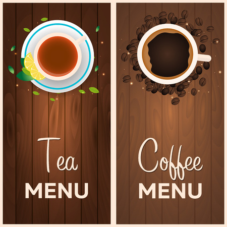 Tea and coffee menu. Wooden background. illustration Illustration