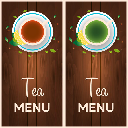 freehand tradition: Tea menu. Cup of tea with lemon. Wooden background. illustration