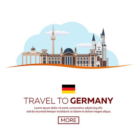 Travel to Germany, Berlin Poster skyline. Reichstag, Brandenburg Gate. illustration