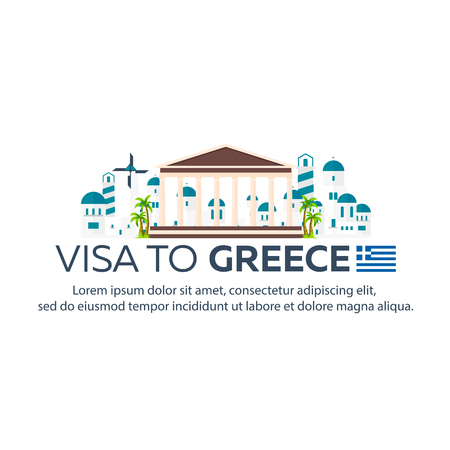 immigrate: Visa to Greece. Document for travel. flat illustration Illustration