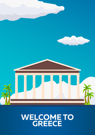 Poster Travel to Greece skyline. Acropolis. illustration