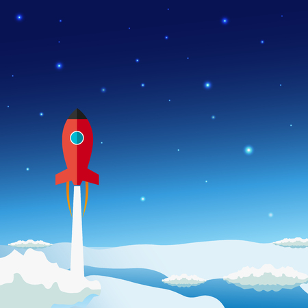Stratosphere flat modern design. Rocket Space vector illustration