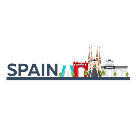 sagrada familia: Travel to Spain skyline. Sagrada Familia. Vector flat illustration