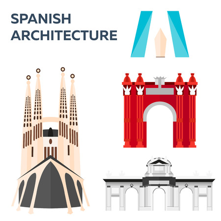 Travel to Spain, Spanich Architecture. Vector illustration