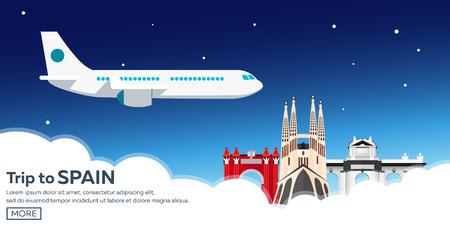 Travel to Spain skyline. Sagrada Familia. Vector flat illustration