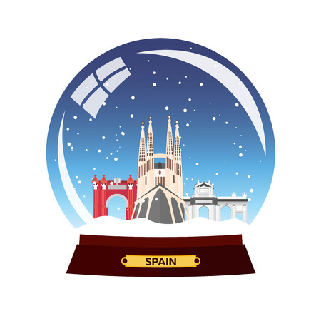Snow globe city. Spain, Sagrada Familia. Winter travel vector Illustration