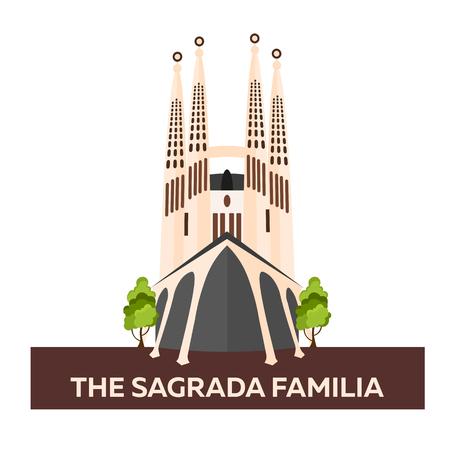 Travel to Spain. Sagrada Familia. Vector flat illustration Illustration