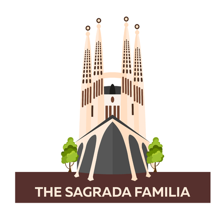 sagrada familia: Travel to Spain. Sagrada Familia. Vector flat illustration Illustration
