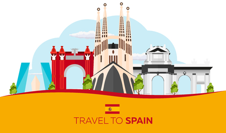 sagrada: Travel to Spain skyline. Sagrada Familia. Vector flat illustration