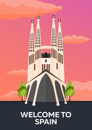 sagrada familia: Travel Poster to Spain skyline. Sagrada Familia. Vector flat illustration Illustration